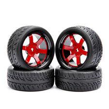 4PCS Rubber Tires & Wheel Rim For HSP HPI RC 1/10 Scale On-Road Street Car D6NKR