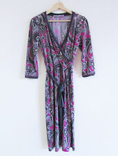 Anthea Crawford Size 8 Plum Grey Paisley Print Jersey 3/4 Slv Cross Over Dress