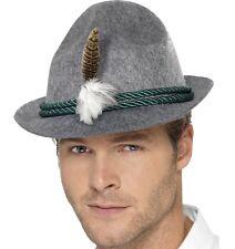 Kostüm Deutsch Trenker Bayrisch Hut Oktoberfest Hut grau von Smiffys neu