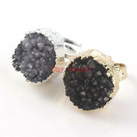 1Pcs Natural Black Color Quartz Vug Crystal Stone Adjustable Finger Ring Jewelry