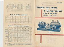 1937 BASI BRIZIO CATALOGO LISTINO POMPE PER VUOTO E COMPRESSORI MECCANICA MILANO