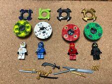 LEGO Ninjago Minifig & Spinner Lot of 4 Ninjas Crowns Golden Weapons Lot V517B