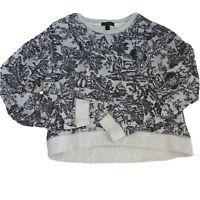J Crew Toile Gray Black Sweatshirt Top French Country Womens Size Small b1092