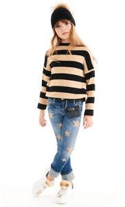 ELSY Girl edler Pullover m. Schleife*beige-schwarz gestreift Gr.140-170 NEU%%%