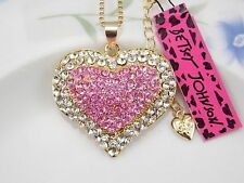 Betsey Johnson Fashion Jewelry inlay pink Crystal Heart Pendant Necklace # TXH