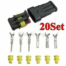 20Kit 3 Pin Way Sealed Waterproof Electrical Wire Connector Plug