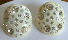 Vintage Weiss Earrings~Thermoplastic/Celluloid~Ivory/Clear Round RS~Signed