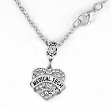 Medical Tech necklace pendant alert jewelry gift  medical alert Crystal Heart