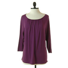 Coldwater Creek Purple Beaded Knit Top Scoop Neck 3/4 Sleeves Tee Blouse XL