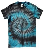 Black & Blue TIE DYE T SHIRT Tye Die Tshirt Festival Top Tee Rainbow Party Rave
