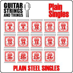 Ernie Ball Single Slinky Plain Steel Electric and Acoustic Guitar Strings
