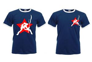 the Clash t shirt, cotton, Joe Strummer, London Calling  navy blue ringer