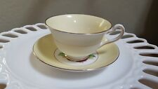 Rosina Made in England Fine Bone China Teacup and Saucer-Yellow with Pink Roses
