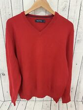 NEW NAUTICA V Neck Pullover Sweater Red Size XL NWOT