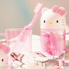 New Hello Kitty Head Travel Towel Toothbrush Holder Set Pink HT03