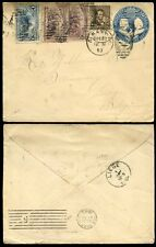 USA COLUMBUS 1893 STATIONERY 1c to BELGIUM 4 stamps UPRATING to 10c