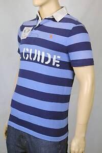Ralph Lauren Medium M Blue Navy Stripe Rugby Polo Shirt Custom Fit NWT $145