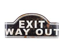 Black Curved Vintage Exit Way Out Metal Sign Movie Theater Room Wall Decor