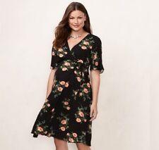 2f430fa1dad88 Maternity LC Lauren Conrad Floral Wrap Dress Color Poppy Dot Black Size  M-mat