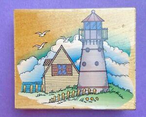 Hero Arts Rubber Stamp Wooden H1055 Lighthouse Scene VTG Birds Sky Clouds Ocean