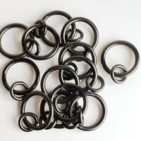 Large Drapery Rings 2-inch Black Iron Eyelet Style with Pins lot of 13