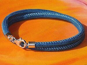 Mens / Ladies Blue printed leather & sterling silver bracelet by Lyme Bay Art