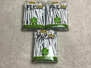 "3 Packs Champ Zarma Fly 2 3/4"" Zero Friction White Golf Tees 120 Tees 92521 NEW"