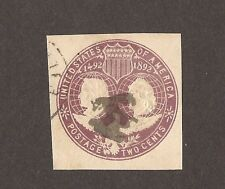 1892 COMMEMORATIVE  UNITED STATES ENVELOPE EMBOSSED STAMP 2 CENTS