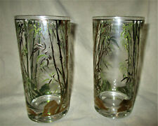 "2 VINTAGE DRINKING GLASSES GOLD GILT AND GREEN BAMBOO Barware 5 1/2"" Tall"