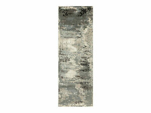 4'x12' Hand Knotted Taupe Abstract Design Wool Silk Runner Hi-Low Rug R62034