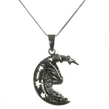 New Sterling Silver 925 Sleeping Dragon Moon Pendant Necklace Lisa Parker