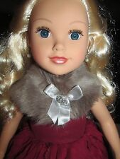 "Journey Girls Giovanna Blonde 18"" Doll Party Gala Gown Dress Fur Shrug Earrings"