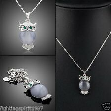 Swarovski Element Eule Halskette Platinum Silber Geschenk Original Design / 066