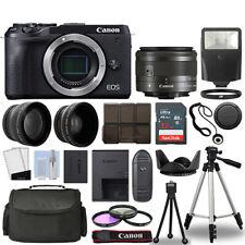 Canon EOS M6 Mark II Camera Black + 3 Lens Kit 15-45mm STM + 32GB + Flash & More