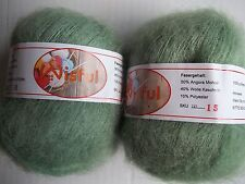 Wisful mohair/cashmere blend yarn, lt.green (#15), lot of 2 (455 yds ea)