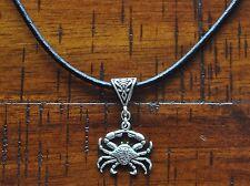 Crab Antique Silver Charm Pendant Leather Necklace Beach Surf Dive Sea Salt Life