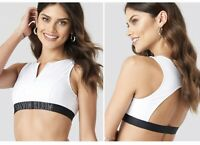 Calvin Klein Open Back Crop Top Bikini White RRP £45 Size S Zip
