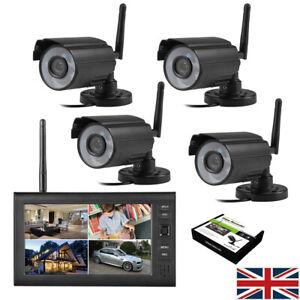 4CH Digital Wireless CCTV Camera 7 inch LCD Monitor DVR Home Security System