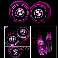 2p Colorful Led Car Cup Holder Bottom Pad Mat Auto Atmosphere Fit For BMW