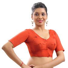 Orange Cotton Casual Blouse Top Choli Indian Bollywood Skirt Wedding Saree Dress