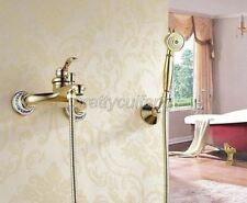Gold Wall Mounted Bathtub Shower Faucet With Hand Shower Sprayer Mixer Tap