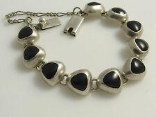 Vintage '925' Mexico Sterling Silver Black Enamel Inlay Bracelet Bangle 35 grams