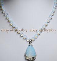 "8mm Faceted SriLanka Moonstone Gems Round Beads White Pendant Necklace 18"""