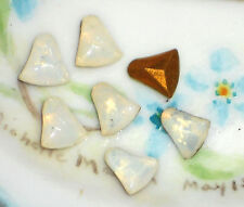 Antique Glass Bells Cabochons Bell White Opal Germany Foil Foiled stones #1181R