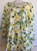 Top Blouse 1X womens casual tee stretch yellow green floral cotton blend new nwt