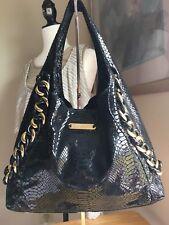 Michael Kors Black Shimmery Snake Skin Pattern Shoulder Bag W/ Gold Tone Hrdwr