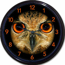 Owl Bird Orange Eyes Wall Clock Birds Owls Nocturnal Halloween New 10""