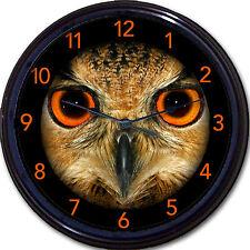 "Owl Bird With Orange Eyes Wall Clock Bird Owls Nocturnal Halloween New 10"""