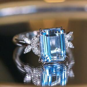 6.50ct Blue Emerald Cut Topaz Cocktail Anniversary Ring in 925 Sterling Silver