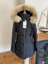 Zara Black Hooded Water Repellent Down Feather Coat  Size L UK14 # P10A